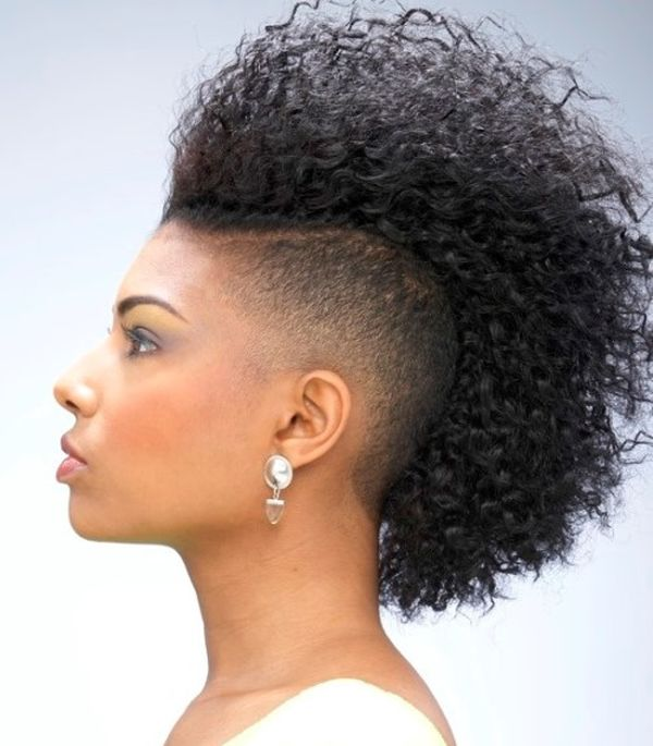 mohawk haircut by African American girl