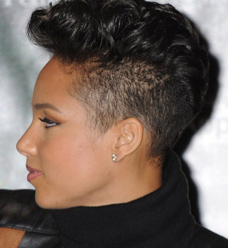 elegant mohawk style hairstyle left side view