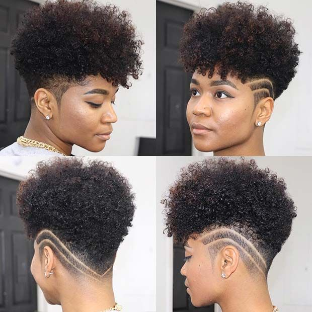 mohawk hairstyle by African girl